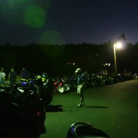 Bikes lined up on a hot night in The Gorge.